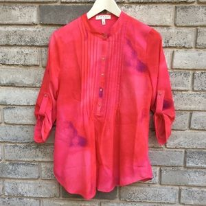 Chaus New York Shirt Button Tab Roll Sleeve Blouse
